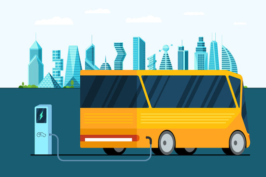 Yellow electric bus at power charger station on city road. Modern electro hybrid futuristic vehicle technology and eco public transport environment care concept. Electricity vector illustration
