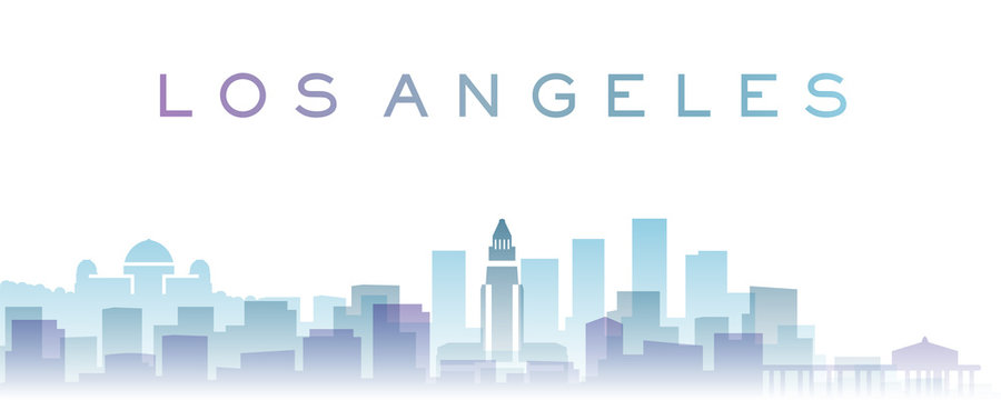 Los Angeles Transparent Layers Gradient Landmarks Skyline