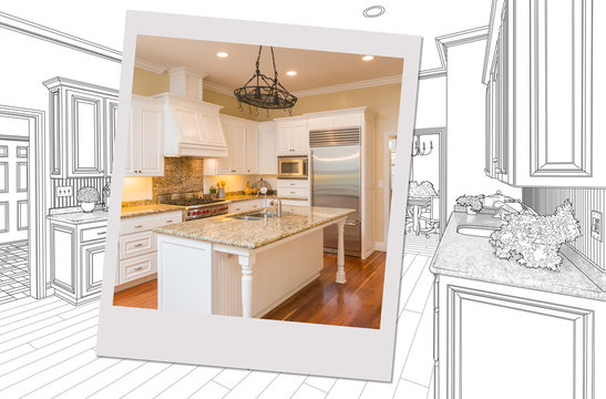 Custom Kitchen Drawing With Photo Picture Frame Containing Finished Construction