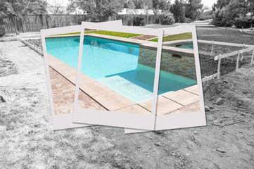 Swimming Pool Construction Site with Picture Photo Frames Containing Finished Project