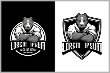 pitbull martial arts athletes with kimono badge logo template