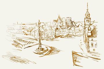 Obraz Ilustracja ręcznie wykonana. Przedstawia Plac Zamkowy w Warszawie - fototapety do salonu