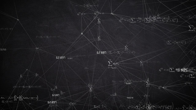 Mathematics and physics formula calculation in abstract digital space - illustration rendering