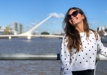 Beautiful Young Woman in Puerto Madero, Buenos Aires, Argentina