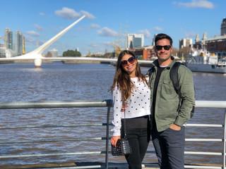 Printed kitchen splashbacks Buenos Aires Young couple in El Puente de la Mujer, Puerto Madero, Buenos Aires, Argentina