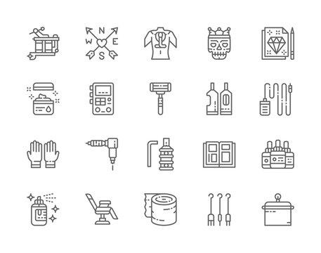 Set of Tattoo Studio Line Icons. Rubber Gloves, Vaseline, Ink Bottles and more.