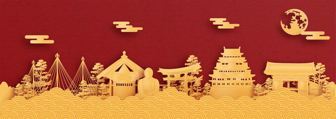 Wall Mural - Panorama postcard and travel poster of world famous landmarks of Nagoya, Japan in paper cut style vector illustration