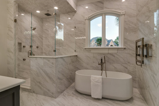 Luxury Shower and Tub in white Master Bath