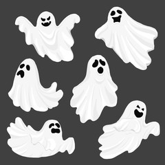 Whisper Ghost cartoon isolated on dark background. character Costume evil or Character creepy funny cute. Party celebrate Halloween night holiday. Set Vector Illustration.