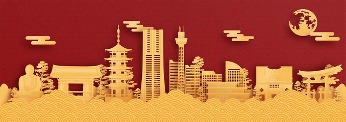 Wall Mural - Panorama postcard and travel poster of world famous landmarks of Yokohama, Japan in paper cut style vector illustration