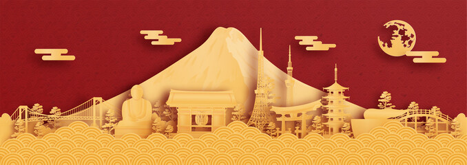 Wall Mural - Panorama postcard and travel poster of world famous landmarks of Tokyo, Japan in paper cut style vector illustration