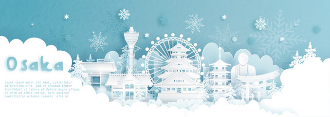 Fototapete - Panorama postcard and travel poster of world famous landmarks of Osaka, Japan in winter season with falling snow in paper cut style vector illustration