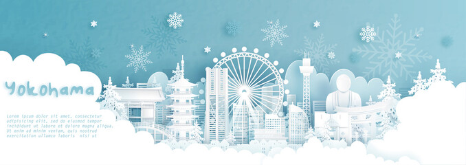 Fototapete - Panorama postcard and travel poster of world famous landmarks of Yokohama, Japan in winter season with falling snow in paper cut style vector illustration