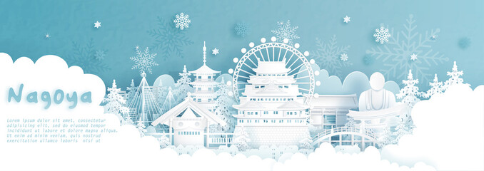 Fototapete - Panorama postcard and travel poster of world famous landmarks of Nagoya, Japan in winter season with falling snow in paper cut style vector illustration