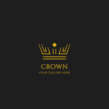 Unique gold crown logo icon in double line strip outline vector style