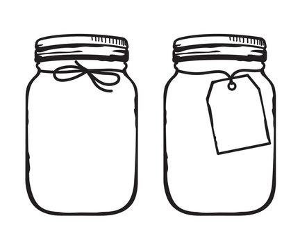 Vector illustration of mason glass jar with label outline.