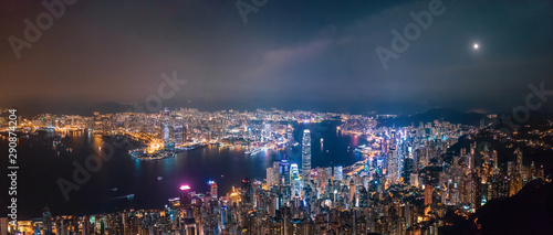 Wall mural Victoria Harbour, Center of Hong Kong cityscape at night