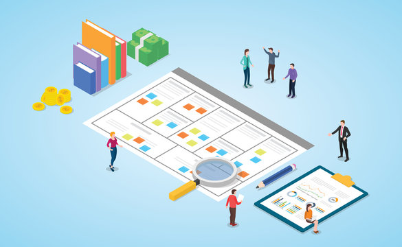 business model canvas concept with paper document and team people discussion meeting with modern isometric style - vector