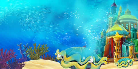 Cartoon underwater sea or ocean scene with castle - illustration for children
