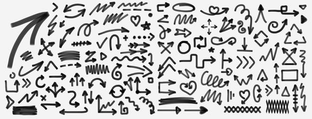 Arrow hand drawn marker set. arrow black drawing doodle marker vector set