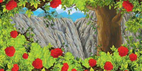 cartoon scene with mountain valley near the forest and bush of roses with nobody on the stage - illustration for children