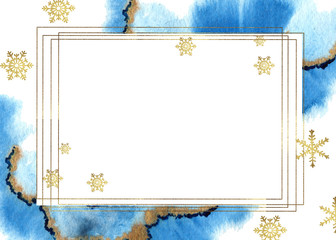 Watercolor floral winter frames with flowers, branches, twigs, berries for wedding invitation, card making