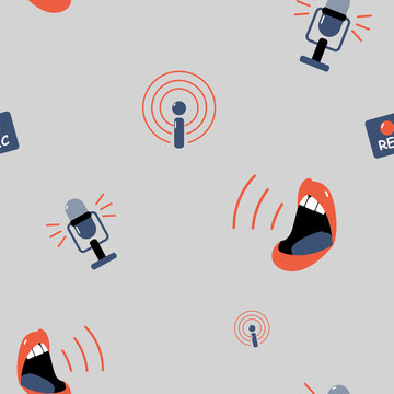 Seamless grey pattern with podcast symbols