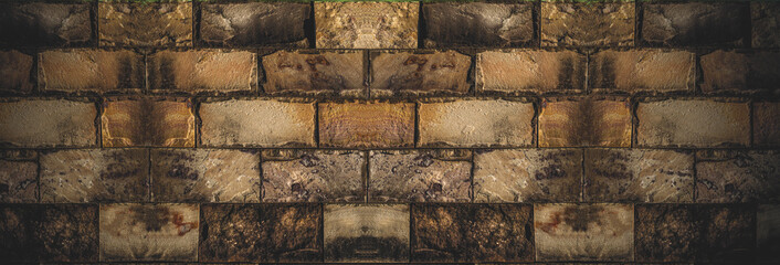 Construction image of red brick wall, wide panoramic image