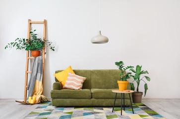 Stylish interior of living room with sofa and plants
