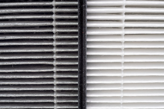 Close up before and after of air filter dust. Compare HEPA air purifier replacement filter.