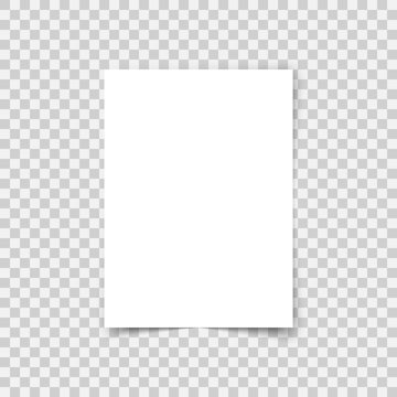 Vector sheet paper A4 format with shadows. White realistic blank paper page. Mock up design leaflet or banner template on transparent background.