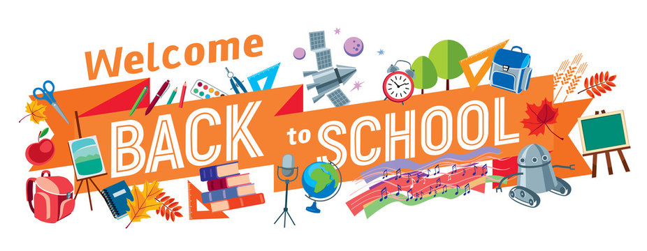 Welcome Back to School. An inscription on a blackboard tape surrounded by school subjects. Vector full color graphics. Vector full color graphics