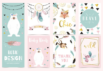 Collection of boho cards set with fox,monkey,dreamcatcher,bear.Vector illustration for birthday invitation,postcard and sticker.Editable element