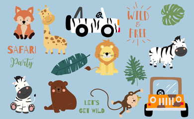 Safari object set with fox,giraffe,zebra,lion,leaves,car. illustration for logo,sticker,postcard,birthday invitation.Editable element