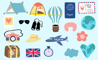 Cute travel collection with luggage, plane, world, balloon, camera,airmail illustration for icon,logo,sticker,printable