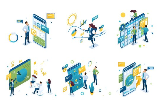 Set of isometric concepts on the topic of time management and planning. For Landing page concepts and web design