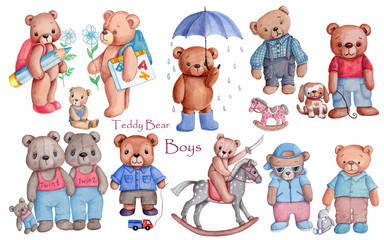 Teddy bear boys, watercolor hand draw illustrations, isolated.