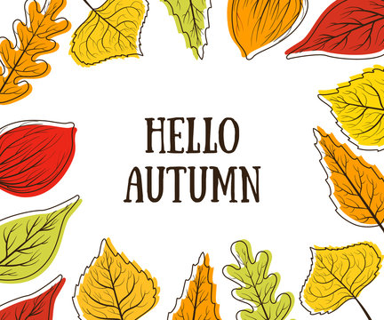 Hello Autumn Banner Template with Bright Colorful Leaves, Card