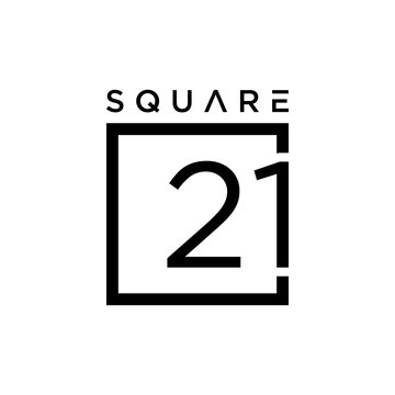 Illustration of the number 21 sign in an abstract box that is made modern and clean.