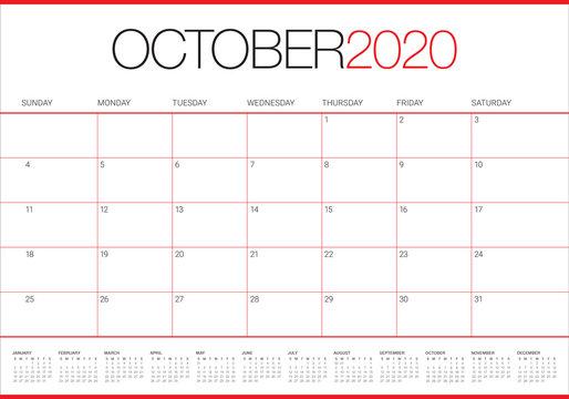 October 2020 desk calendar vector illustration