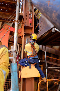Welder wearing safety helmet, fall arrest harness clipping locking carabiner which connect with retractable lanyard device on the back of his safety harness loop other end attached to structure beam