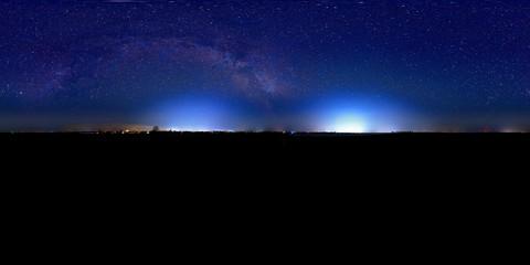 night sky panorama 360° with milky way