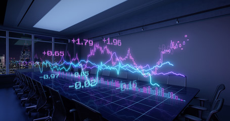 Neon Charts Diagrams of Financial Statistics report Growing on Table in Night Office Interior. Exchange trading Gambling concept 3D rendering.