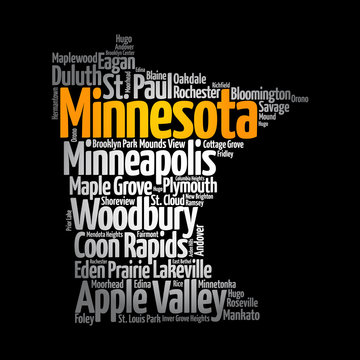 List of cities in Minnesota USA state, map silhouette word cloud map concept