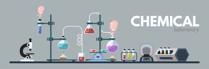 Chemical lab equipment flat vector illustration