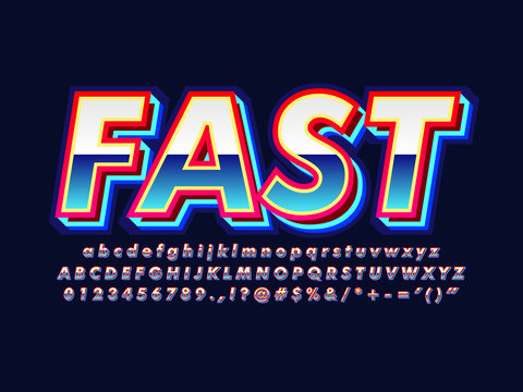 blue retro 80s font with modern cool neon glow, 80s retro futurism blue neon game font
