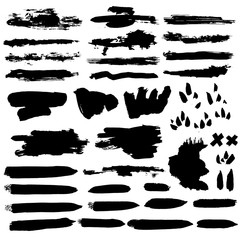 Brush set. Different types of brush strokes. Isolated design elements. Vector illustration. Ink painting.