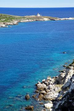 View on Caprara island and lighthouse. Tremiti. Italy