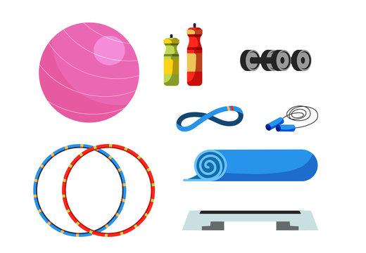 Fitness equipment flat vector illustrations set