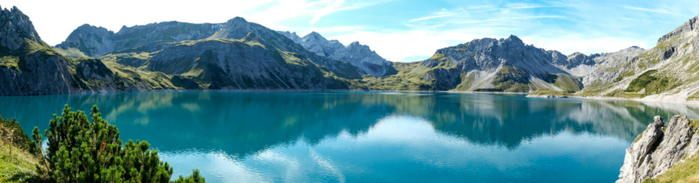 Wonderful Luenersee in the heart of the Raetikon Mountains, Vorarlberg, Austria Europe